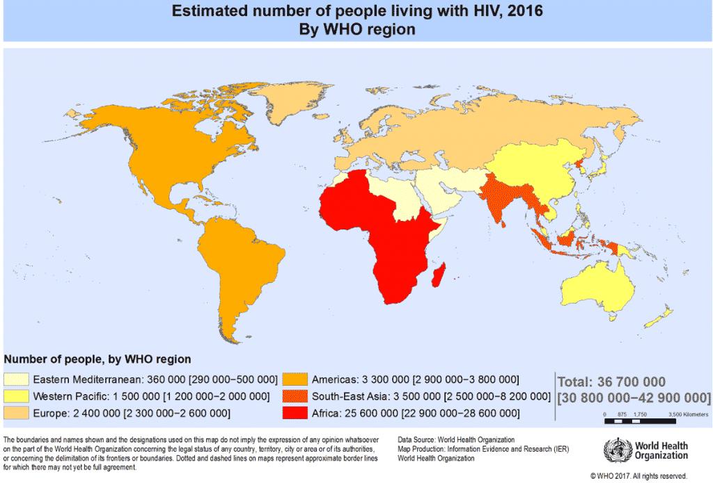 Статистика ВИЧ в мире: оценочное число людей живущих с ВИЧ 2016 по регионам ВОЗ
