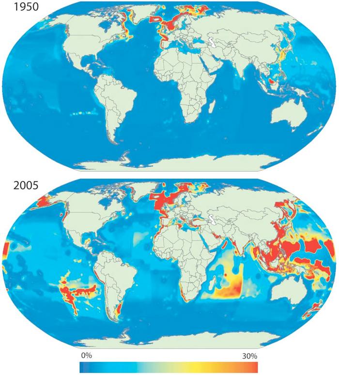 пространственное расширение и экологический след рыболовства